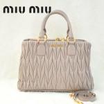 MIU MIU 0803-2 人氣熱銷單品女士淺粉色進口小羊皮手提單肩包