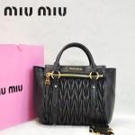 MIU MIU-0955-1  缪缪新款進口小羊皮黑色女士單肩包 時尚手提包