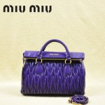 MIU MIU-0947-6 缪缪新款深紫進口小羊皮女士單肩包 時尚手提包