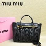 MIU MIU-0956-3  缪缪新款進口小羊皮黑色大號女士單肩包 時尚手提包