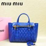 MIU MIU-0956-1  缪缪新款進口小羊皮寶藍色大號女士單肩包 時尚手提包