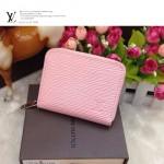 LV M60067-2 新款粉色水波紋女士拉鏈短款零錢包錢夾