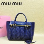 MIU MIU-0956-7 缪缪新款進口小羊皮寶藍色大號女士單肩包 時尚手提包