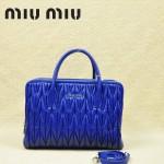 MIU MIU-0951 缪缪新款進口小羊皮 寶藍色女士單肩包 時尚手提包