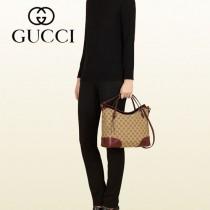 GUCCI 353120-3 新款潮流棕色bree帆布配皮購物袋單肩手提多功能女包