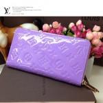 LV M60017-6 新款薰衣草紫漆皮壓花長款拉鏈款女士錢夾手包