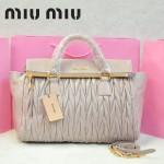 MIU MIU-0947-10 缪缪新款進口油蠟皮粉紫色女士單肩包 時尚手提包