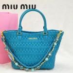 MIU MIU 0896-6 繆繆新款女士進口香皮湖水藍手提包 單肩包