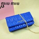 MIU MIU 0847-3 繆繆新款女士單肩包藍色進口小羊皮包包