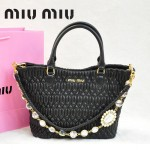 MIU MIU 0896-5 繆繆新款女士進口香皮黑色手提包 單肩包