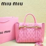 MIU MIU-0956-9 缪缪新款進口小羊皮櫻花粉大號女士單肩包 時尚手提包