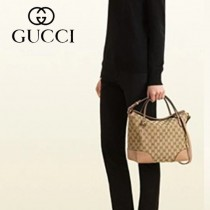 GUCCI 353120-4 新款潮流粉色bree金絲帆布配皮購物袋單肩手提多功能女包