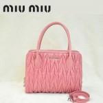 MIU MIU-0951-6缪缪新款進口油臘皮粉紅色女士單肩包 時尚手提包