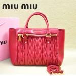 MIU MIU-0956-2  缪缪新款進口小羊皮大紅色大號女士單肩包 時尚手提包