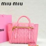 MIU MIU-0955-6  缪缪新款進口小羊皮櫻花粉女士單肩包 時尚手提包