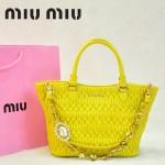 MIU MIU 0896-8 繆繆新款女士進口香皮檸檬黃手提包 單肩包