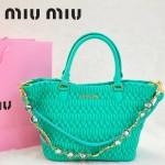 MIU MIU 0896-9 繆繆新款女士進口香皮蘋果綠手提包 單肩包