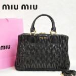 MIU MIU 0803-12 人氣熱銷單品女士黑色油蠟皮手提單肩包