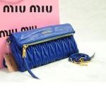 MIU MIU-0960-1 缪缪新款原版進口小羊皮藍色女士單肩包 時尚手提包