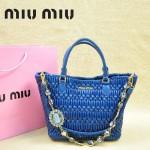 MIU MIU 0896 繆繆新款女士進口香皮寶藍色手提包 單肩包