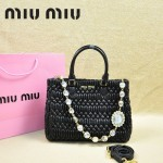 MIU MIU-0958 缪缪新款進口小羊皮黑色女士單肩包 時尚手提包