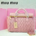 MIU MIU-0947-9 缪缪新款進口油蠟皮粉紅色女士單肩包 時尚手提包