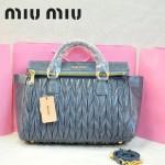 MIU MIU-0947-12 缪缪新款進口油蠟皮灰藍色女士單肩包 時尚手提包