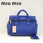 MIU MIU-0947 缪缪新款寶藍色進口小羊皮女士單肩包 時尚手提包