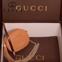 GUCCI 353965-5 新款女士棕色DISCO SOHO全皮單肩斜挎鏈條流蘇小包