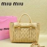 MIU MIU-0956-8 缪缪新款進口小羊皮杏色大號女士單肩包 時尚手提包