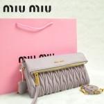 MIU MIU-0960-2 缪缪新款原版進口小羊皮粉紫色女士單肩包 時尚手提包