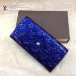LV M61734-2 歐美風範大牌女款電光藍漆皮壓花錢包