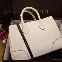 GUCCI 354225 潮流新款白色AIZ1G菱格紋全皮商務女士隔層手提肩背包