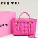 MIU MIU-0955-2  缪缪新款進口小羊皮玫粉色女士單肩包 時尚手提包