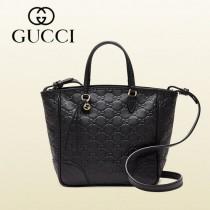 GUCCI 353121-3 新款歐美黑色小號全皮壓花手提單肩女包