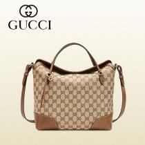 GUCCI 353120-5 新款潮流棕色bree金絲帆布配皮購物袋單肩手提多功能女包