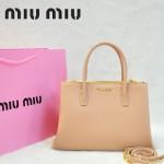 MIU MIU-0941-3 缪缪新款裸粉色原版皮女士單肩包 時尚手提包