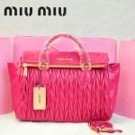 MIU MIU-0947-13 缪缪新款進口油蠟皮玫紅色女士單肩包 時尚手提包