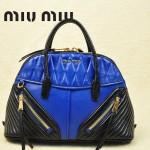 MIUMIU 1006 熱銷款黑色配寶藍褶皺羊皮貝殼包女士手提斜挎包