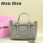 MIU MIU-0956-4  缪缪新款進口小羊皮灰色大號女士單肩包 時尚手提包