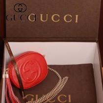 GUCCI 353965-4 新款女士紅色DISCO SOHO全皮單肩斜挎鏈條流蘇小包