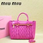 MIU MIU-0956-5  缪缪新款進口小羊皮玫紅色大號女士單肩包 時尚手提包