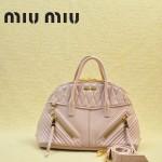 MIUMIU 1006-5 熱銷款淺粉色褶皺羊皮貝殼包女士手提斜挎包