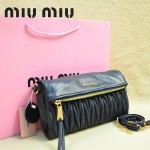 MIU MIU-0960 缪缪新款原版進口小羊皮寶藍色女士單肩包手拿包