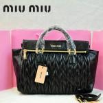 MIU MIU-0947-11 缪缪新款進口油蠟皮黑色女士單肩包 時尚手提包
