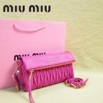 MIU MIU-0960-3 缪缪新款原版進口小羊皮玫紅色女士單肩包 時尚手提包