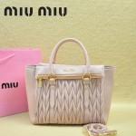 MIU MIU-0956-6 缪缪新款進口小羊皮淺粉色大號女士單肩包 時尚手提包