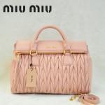 MIU MIU-0947-3 缪缪新款浅粉進口小羊皮女士單肩包 時尚手提包