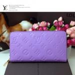 LV M60017-7 新款薰衣草紫色全皮壓花長款錢包女士錢夾手包