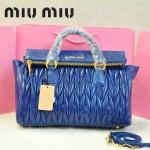 MIU MIU-0947-8 缪缪新款進口油蠟皮寶藍色女士單肩包 時尚手提包